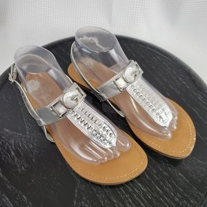 G by Guess Womens 7.5 Sandals Silver Open Toe